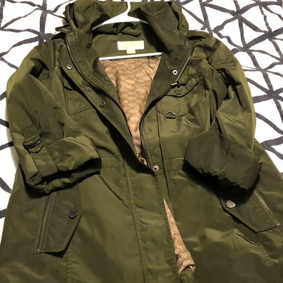 low priced clear and distinctive nice cheap Michael Kors olive green rain jacket